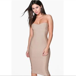 Beige bandage midi dress